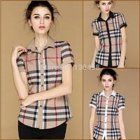 Free Ship Fashion 2014 New Fashion Womens Tops Casual Blouse Turndown Collar ShortSleeve Plaids Print Pattern Flannel Shirt S-XL