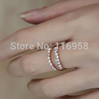 2014 new fashion ring/jewelry/bijous brand OLL stylish  elegant double- CZ diamond ring for woman/women/feminino