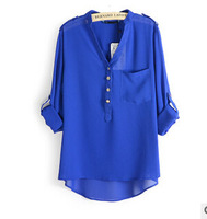 Sale 2014 women spring summer V-neck chiffon all-match solid botton casual spirals shirt blouse blusas white blue black XL C10