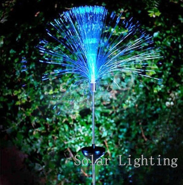 Wholesale 2 X solar fiber optic lights colorful color interpolation to lawn light Solar Lighting(China (Mainland))