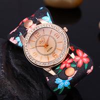 2014 New Printed Flower Fashion Casual  Watch Retro Style Women Dress Watches Ladies Leather Wristwatches Relogio Feminino