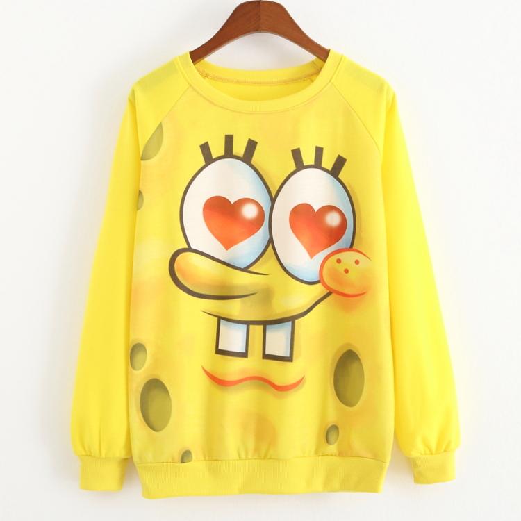 Cute Lovely Sweatshirts Women Casual Pullover Novelty Style Women Hoodies Yellow Sweatshirts Casual Women Sweatshirt New Design(China (Mainland))