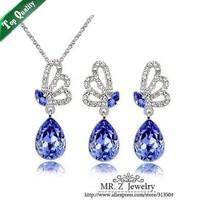 Free Shipping Austrian Crystal Butterfly Water Drop Earrings Necklace Blue Jewelry Sets 5sets/lot
