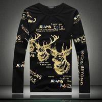 T shirt Men Fashion New Autumn Spring O Neck Lovely Deer Print Casual Slim T-shirts Size M-2XL