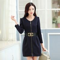 5851 2014 slim elegant slim hip skirt small long-sleeve dress with belt