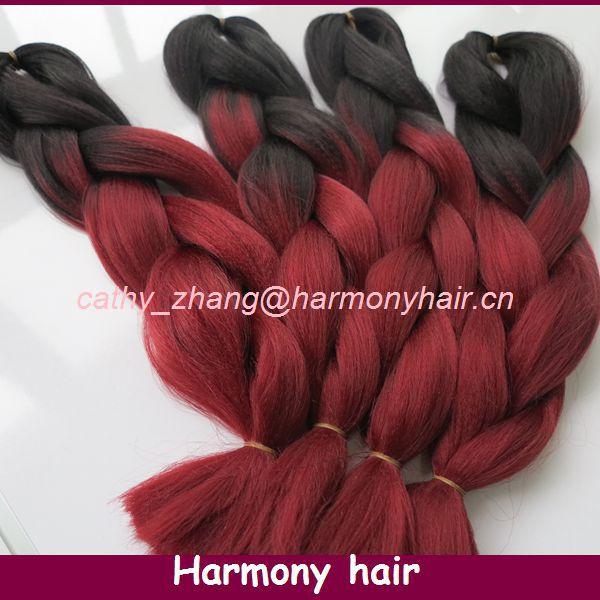 Free Shipping! Harmony Stock 4pcs/lot folded length 20inch Black+Burgundy kanekalon hair braids supplier 100g per piece(China (Mainland))