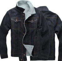 New padded denim collar plus cotton coats, warm winter slim fit mens jeans cotton padded coat jacket Size: M-XXL HS225