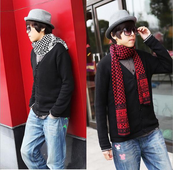 2014 New Fashion Style Acrylic Men Scarves plaid Pattern Imitation Pashmina Knitted Long Warm Scarves Gift 6 Colors Vinatge Wrap(China (Mainland))