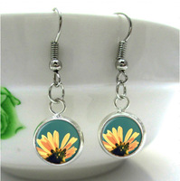 1 pair  Blue Flower Earrings Art Photo  vintage dangle earrings Glass Dome Earrings for women girl