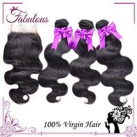 7A Brazilian Body Wave with closure, 4PCS Free part Lace Closure with bundles, Brazilian virgin hair with closure Hair Bundles
