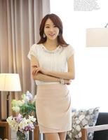 Free Shipping Hot Sale Summer Women Short Sleeve Blouses Plus Size Chiffon Shirt M4310 Five Colors  S-XXL