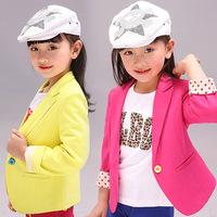 Free shipping 2014 autumn children outerwear slim female child spring outerwear 100% cotton child suit jacket