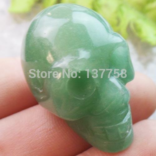 (Min. Order is $10) (1piece/lot) Carved Green Aventurine Skull Pendant Bead SAM1814(China (Mainland))