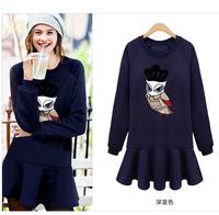 New Fashion 2014 Europe casual dress autumn/winter fleece thicken sport slim long sleeve women dress S9158 Free Shipping