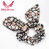 Rabbit ears Korea style floral tie string ornaments elastic lace headband for women wholesale