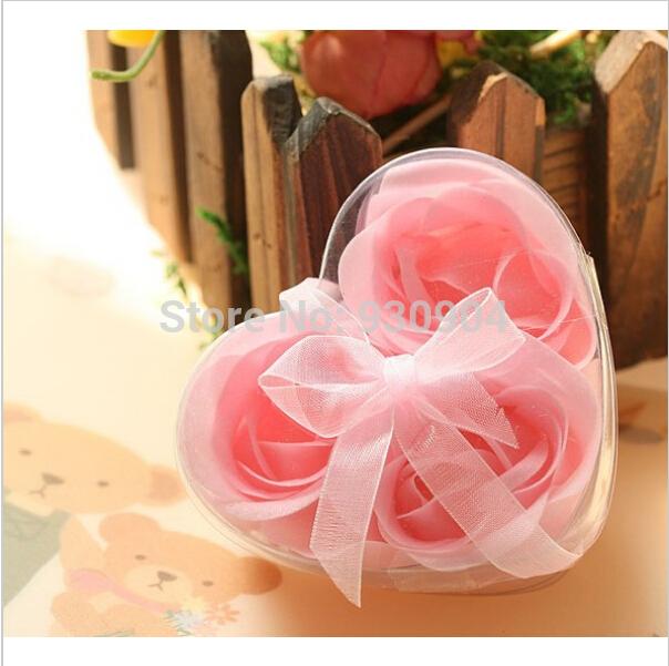 (30boxes/lot ) Bath Body Heart Rose Petal Wedding Gift Favor Colors 3pcs Flower Soap into 1 box Soap Flower(China (Mainland))