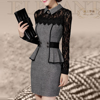 Vestidos Casual Dress 2014 Winter Dress OL Elegant Classical Lace Long Sleeve Package Hip Dress WQ0372