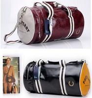 Free shipping 2014 new Men's barrel bag shoulder oblique cross PU Mens messenger bag for man fashionable cylinder sports gym bag