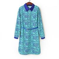 vestidos 2014 new summer fall retro printed women casual dress lapel long sleeved loose chiffon dresses