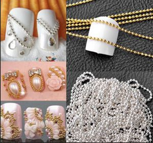 New Arrival 1m Nail Art Tips 3D Stickers Metal Glitter Striping Ball Beads Chain Decorations With Low Price(China (Mainland))