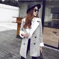 2014 new Korean women's lapel long sleeve Street casual versatile cashmere long woolen overcoat