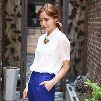 women's short-sleeve chiffon shirt female summer 2014