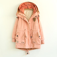 New Winter/Autumn Removable Warm Thicken Women Loose Hoodies Coat 3 Colors