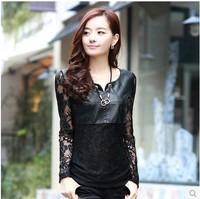 2014 Autumn women's lace shirt basic shirt plus size women's long-sleeve t-shirt shirt cutout top
