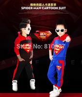 2014 New Fashion Spider-man Cartoon Suit Children's sets Autumn Winter Cool Superman Spiderman suit cloth girls boys