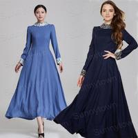 Quality elegant brand casual winter dresses women 2014 autumn office work wear patchwork floral print maxi long dress plus size