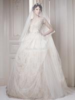 2015 New Arrival Floor Length v neck embroidery short sleeve ball gown  vintage wedding dress RTT-0261 winter dress vestido