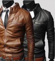 2015 Hot Fashion Transverse Slim PU Leather Jacket Motorcycle Leather Coats Jackets Suede Jaquetas De Couro Men's cloth #9079