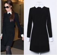 2014 New Fashion Celebrity Style Victoria Beckham Dress Slim Elegant Turn-down Collar Long Sleeve Black Casual Dresses for Women