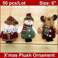 50PCS/LOT Christmas Stuffed Ornaments Plush Toys Santa Claus Snowman Reindeer Xmas Tree Hangings Decoration Home Decor WHOLESALE