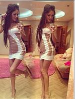 2014 summer new fashion women's clothing stitching ladies sleeveless chiffon dress sexy nightclub dress  free shipping