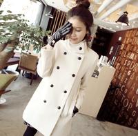 2014 women white woolen outerwear female medium-long wool coat