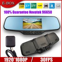"Free Shipping Allwinner C20 Car DVR Rearview Mirror Full HD 1080P 30FPS+GPS Logger 4.3"" LCD 6G Lens Car DVR Recorder Camera"