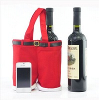 35X25CM Large Size High Quality Christmas Gifts Decoration Santa Pants Bag For Wine Bottles