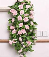 Fasion Simulation Silk Flower Rose Vine Flowers Vine Wedding Party Decorations Christmas Festival Home Decor  More Colors