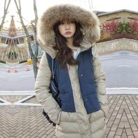 2014 women large fur collar down coat medium-long female down cotton-padded jacket free shipping
