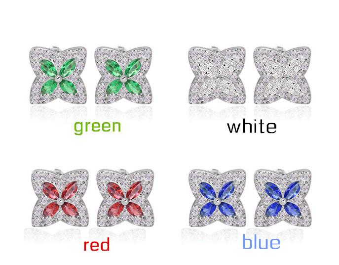 Elegant Design Flower Shape Zircon Inlay Sutd Earrings Platinum Plated Rhinestone Inset Multi Color Jewelry Earring Promotional(China (Mainland))