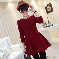 E-Unique Women'S 2014 Autumn And Winter Plus Size Slim Puff Dress Long-Sleeve Wool Woolen One-Piece Dress WB02