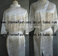 Free Shipping 2014 Short Style Woman Silk  Satin Embroidery Bridesmaid Robe,Wedding Bridal Party Robe , Embroidery Bridesmaid