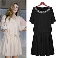 L-4XL 2014 New Hot Autumn Winter Vestidos For Women Clothing Plus Size Dresses European style Loose beaded dress