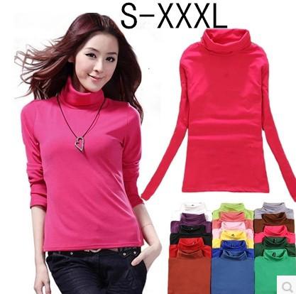 2014 Winter Elastic Solid Fashion Women's Girls Basic Turtleneck  Long Sleeve T-shirt Bottoming Milk Fleece  Shirt Top W00255(China (Mainland))