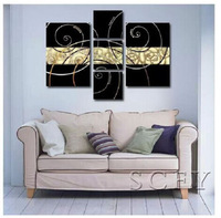 Hand-painted  wall art  Line combination  modern abstract art oil painting set canvas10x20inchx2,8x24inchx1(25x50cmx2,20x60cmx1)