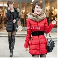 New 2014 Women Winter Jackets Thicken Slim Fashion Fur Hooded Long  Warm Down Coat 5 Colors Female parkas coat Plus Size 4XL