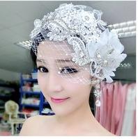 2014 New Fashion Luxury High-end Handmade Lace Rhinestone Flower Hair Jewelry Hairwear Hair Accessories