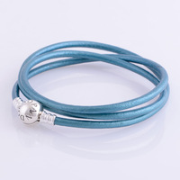 bracelet silver 925 sterling bracelests for women skyblue genuine leather bracelet men PL304-62 wholesale