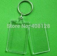 DHL Free shipping 500pcs/lot Blank Acrylic Keychains key chains Insert Photo plastic Keyrings 08
